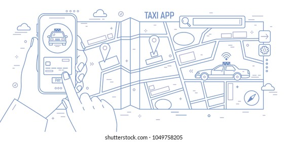 Horizontal banner with hands holding smartphone, city map and taxi car drawn with contour lines on white background. Mobile application for online cabs booking. Monochrome vector illustration