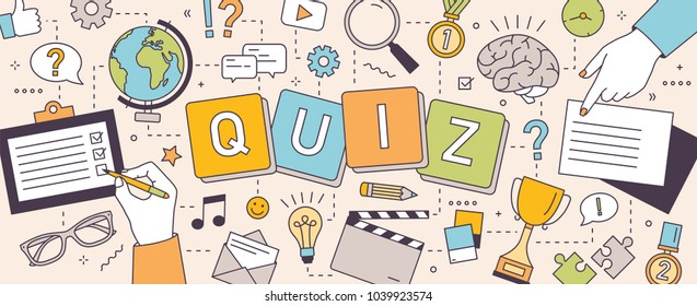 Horizontal banner with hands of people solving puzzles or brain teasers and answering quiz questions. Team intellectual game to test intelligence or intellect. Vector illustration in line art style.