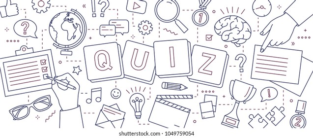 Horizontal banner with hands of people solving puzzles, answering quiz questions, playing board games to test intelligence or intellect drawn with lines on white background. Vector illustration