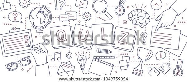 Horizontales Banner mit Händen von Leuten, die Rätsel lösen, Quizfragen beantworten, Brettspiele spielen, um Intelligenz oder Intellekt mit Linien auf weißem Hintergrund zu testen. Vektorgrafik