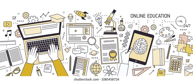 Horizontal banner with hands typing on laptop keyboard and various office supplies. Online or distance education, e-learning, studying on internet. Vector illustration in modern line art style
