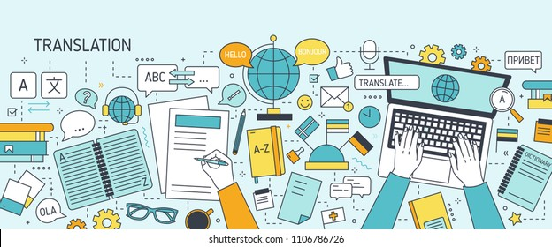 Horizontal banner with hands typing on laptop keyboard and writing on paper. Work of linguist or translator, translation of foreign languages. Colorful vector illustration in modern line art style.