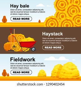 Horizontal banner haystack, wheelbarrow with bale of hay. Flat dried haystack flyer, farming haymow bale hayloft, agricultural rural haycock - vector illustration