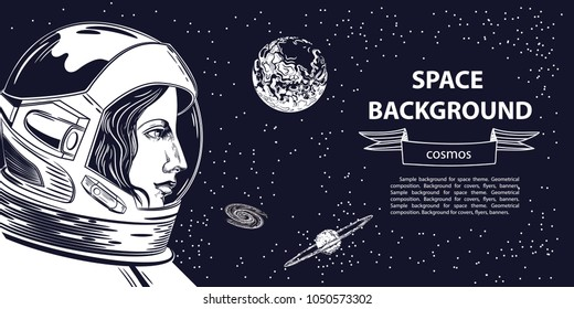 Horizontal banner with an image of an astronaut woman
