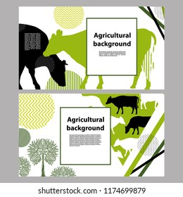 Horizontal banner with the image of cows and geometric shapes for the background of the cover.