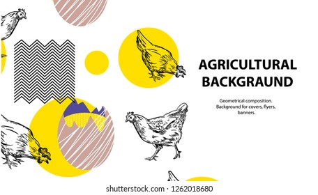 Horizontal banner with the image of roosters, chickens, eggs and geometric shapes. Background for covers, flyers, banners.