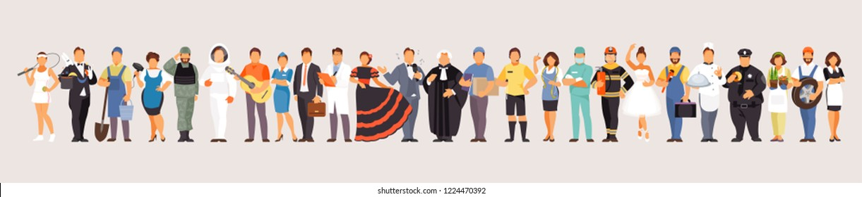 Horizontal banner with a large set of different professions. Labor day. Vector characters