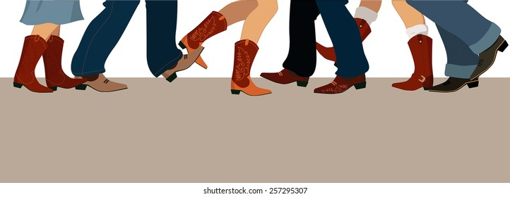 Horizontal banner with male and female legs in cowboy boots dancing country western, vector illustration, no transparencies