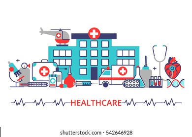 Horizontal banner in modern flat line stile. Health care concept with a lot of medical equipment, hospital, ambulance, helicopter. Vector illustration for web, info graphic.