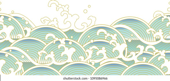 horizontal banner of ocean wave in Chinese style. Suitable for wallpaper and event decoration.