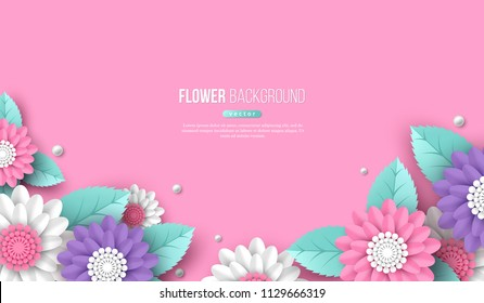 Horizontal banner with paper cut 3d flowers in pink, white and violet colors. Place for text. Decorative elements for holiday design. Vector illustration.