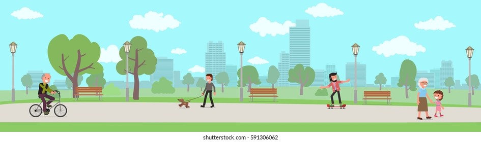 horizontal banner. people walk in the park. vector illustration. flat design style