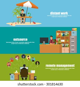 horizontal banner: remote operation, remote management and outsource. Vector illustration in a flat style.