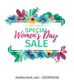Horizontal banner for sale International  Happy Women's Day on flower background. Flyer for March 8 with the decor of floral. Invitations with  frame and flower for offer and discount. Vector.