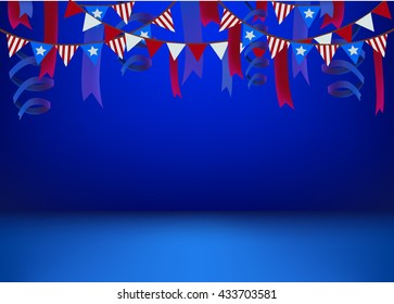 horizontal banner scene stage podium background template decorated american national flag stars stripes ribbon patriot 4th July USA independence day poster invitation flyer patriotic card party design