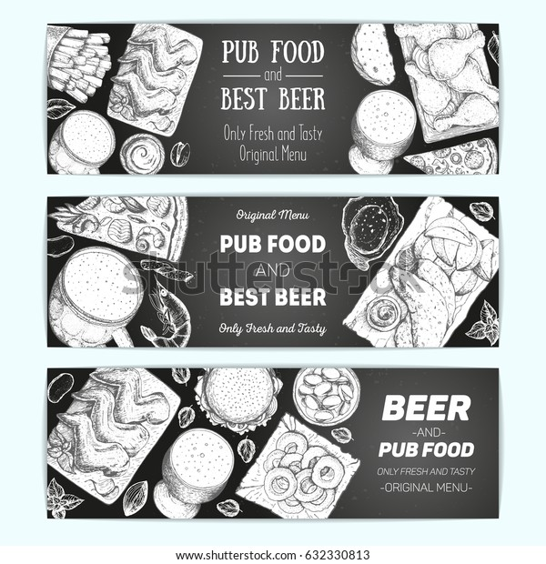 Horizontal banner set for beer pub or beer restaurant. Vector illustration in sketch style. Hand drawn horizontal banners. Engraved style image.