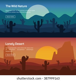 Horizontal banner set with lonely desert and wild nature isolated vector illustration