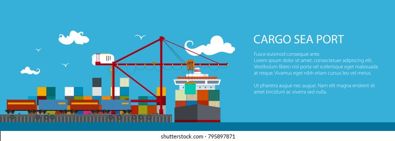 Horizontal Banner of Shipyard, Cranes Load Containers on the Container Ship and Train at the Seaport, Sea Freight Transportation, Poster Brochure Flyer Design, Vector Illustration