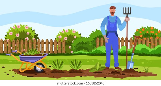 Horizontal banner with spring backyard, garden bed, flowers, seedlings, wheelbarrow and farmer. Character in overall with pitchfork, shovel in cartoon style. Male cultivating soil in country house