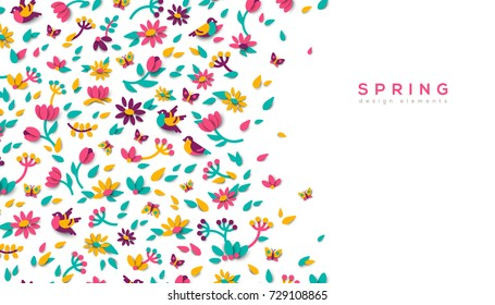 Horizontal banner with spring cute 3d paper cut design elements. Vector illustration. Floral natural shapes, flowers, berries and leaves. Pink tulips, sparrow bird and butterfly.