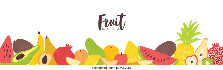 Horizontal banner template with fresh organic summer exotic tropical juicy fruits at bottom border on white background. Decorative vector illustration in flat style for advertisement, promotion.