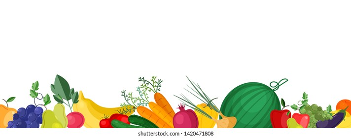 Horizontal banner template with fresh ripe locally grown fruits and vegetables at bottom edge. Vector illustration for grocery store promotion, advertisement of healthy organic veggie products.