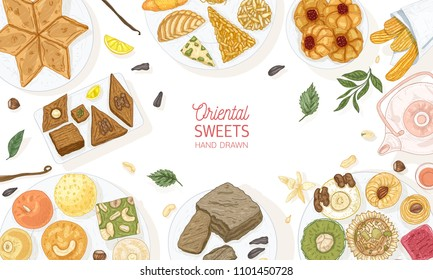Horizontal banner template with oriental sweets lying on plates on white background, top view. Traditional desserts, tasty confectionery, delicious pastry products. Hand drawn vector illustration