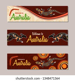 Horizontal banner templates in Australian aboriginal style. Kangaroo, lizard, boomerang, stylized sun, decorative elements. Welcome inscription. Vector color illustration.