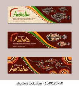 Horizontal banner templates in Australian aboriginal style. Lizard, fish, boomerang, stylized sun, decorative elements. Welcome inscription. Vector color illustration.