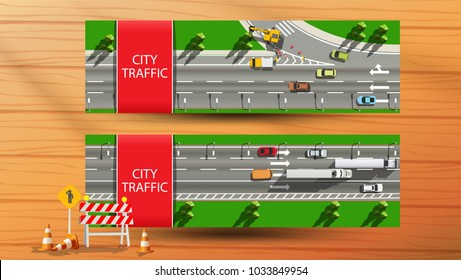 Horizontal banner with top view city traffic