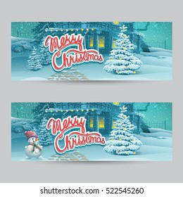 Horizontal banner - vector cartoon illustration Merry Christmas. Greeting card light style background. Merry Christmas message.