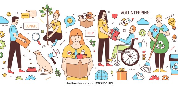 Horizontal banner with young men and women feeding dog, giving gift to disabled person, planting tree, collecting garbage. Volunteers and volunteering. Vector illustration in line art style