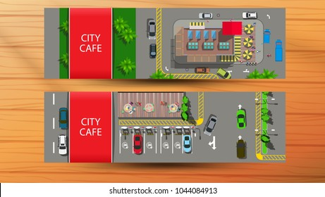 Horizontal banners with to city cafe with parking