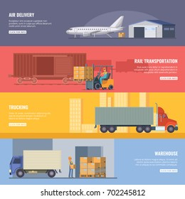 Horizontal banners of delivery or logistics services. Trucking industry. Fast transportation. Vector illustrations in cartoon style. Rail and air delivery, transportation cargo banner