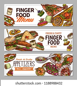 Horizontal banners with finger food design. Snacks, appetizers, mini canapes, sandwiches, seafood, hamburger, rolls. Vector illustration in flat style, colorful hand drawn sketch