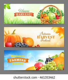 Horizontal banners for harvest festival ad. Vector set.