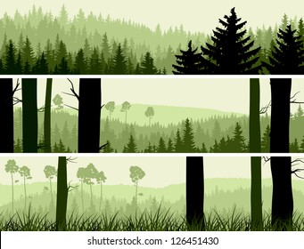 Horizontal banners of hills of coniferous wood in green tone.
