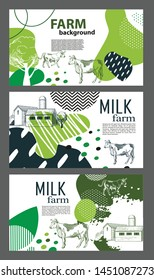 Horizontal banners with the image of cows and geometric shapes for the background of the cover. Sketch graphics. Set of agricultural backgrounds. Three banners.