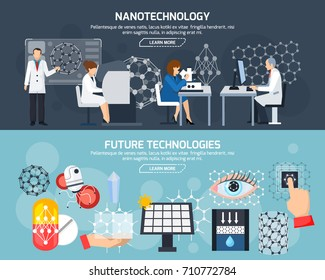 Horizontal banners with scientists and equipment, nanotechnology and devices, materials and medicine of future isolated vector illustration