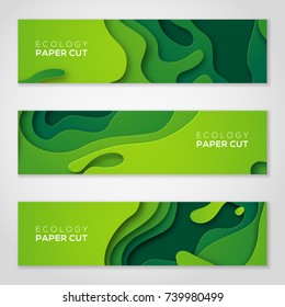 Horizontal banners set 3D abstract background, green paper cut shapes. Vector design layout for business presentations, flyers, posters and invitations. Carving art, environment and ecology elements