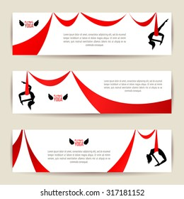 Horizontal banners set. Black acrobat silhouette with red ribbon. Aerial silk dancer. Gymnast woman doing exercises. Yoga with hammock or anti gravity yoga. Typographic template for Your text. Vector.