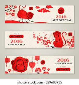 Horizontal Banners Set with Hand Drawn Chinese 2016 New Year Apes. Vector Illustration. Hieroglyph stamp translation: monkey.