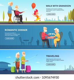 Horizontal banners set with illustrations of elderly couples in various situations. Vector romantic dinner and traveling poster