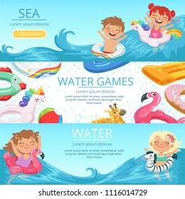 Horizontal banners set with illustrations of happy childrens playing on the beach and water park. Summer happy play game in pool, resort holiday vector