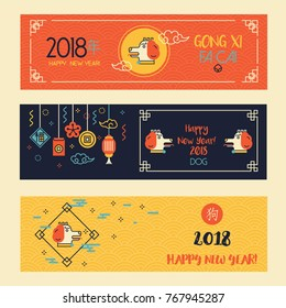 Horizontal Banners Set with Linear Chinese New Year Dog. Vector Illustration. Character translation: Dog. Modern Red, Yellow and Dark Blue Decorations. Symbol of 2018 New Year.