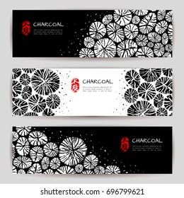 Horizontal banners set in modern Asian style. Round organic shape elements. Realistic cracked wood texture. Stamp for Charcoal. Typographic template for your text. Vector illustration.
