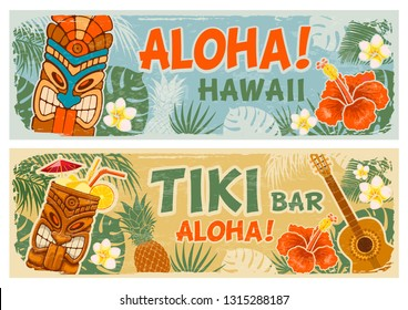 Horizontal banners set with Tiki mask and other hawaiian different symbols in vintage style. Hawaiian summer party. Tiki bar sign board. Vector illustration.