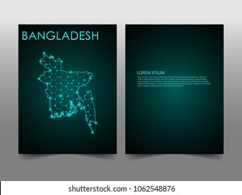 Horizontal banners template with Bangladesh map sphere vector illustration. Abstract business card vector template with globe. Flyer or cover design. communication and network.