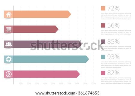 horizontal bar graph template icons vector のベクター画像素材