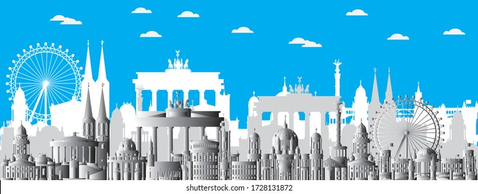 Horizontal Berlin skyline travel illustration with main architectural landmarks. Berlin traveling concept, monochrome gradient German tourism and journey vector background.
